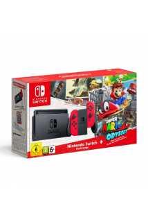 Комплект Nintendo Switch (неоновый красный) + Super Mario Odyssey