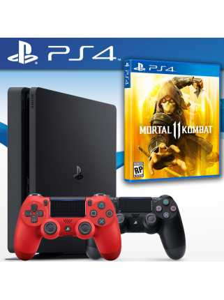 PlayStation 4 Slim 500GB (Black) + Dualshock 4 + Mortal Kombat 11