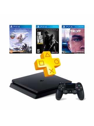 PlayStation 4 Slim 1TB + Detroit: Стать человеком + Horizon: Zero Dawn + Одни из нас + PS Plus