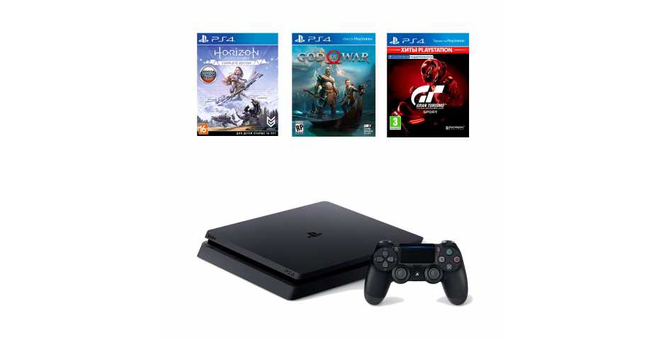 Sony PlayStation 4 Slim 1TB + Gran Turismo Sport + God of War + Horizon: Zero Dawn Complete Edition