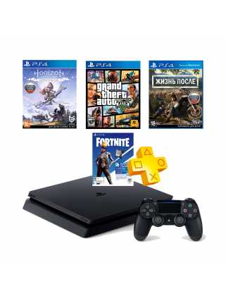 PlayStation 4 Slim 1TB + GTA V + Days Gone + Horizon: Zero Dawn + Fortnite + PS Plus
