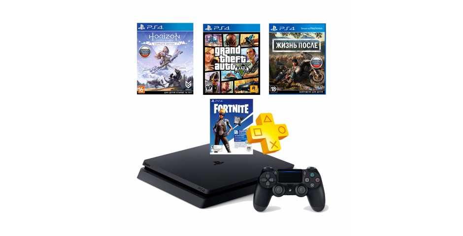 Sony PlayStation 4 Slim 1TB + GTA V + Days Gone + Horizon: Zero Dawn + Fortnite + PS Plus