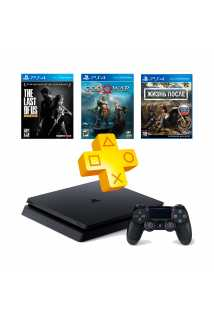 PlayStation 4 Slim 1TB + Жизнь после + God of War + Одни из нас + PS Plus