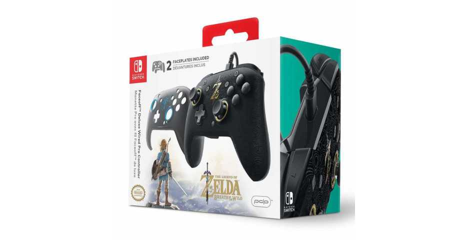 Faceoff Deluxe Wired Pro Controller - Breath of the Wild Edition