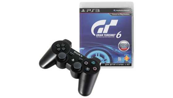 Геймпад для PS3 Sony Dualshock 3 Wireless Black (Уцененный) + Gran Turismo 6