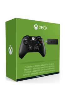 Геймпад Xbox One (3,5мм), черный + Wireless Adapter for Windows 10