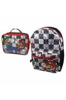 Рюкзак «Марио и Луиджи» (черный, белый, красный) и Сумка для ланча