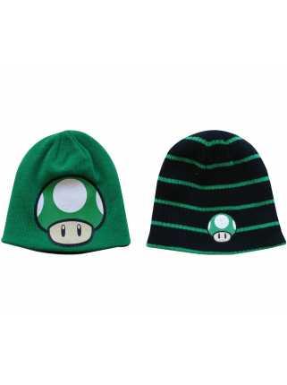 Шапка двухсторонняя «Зеленый гриб» (черно-зеленая)