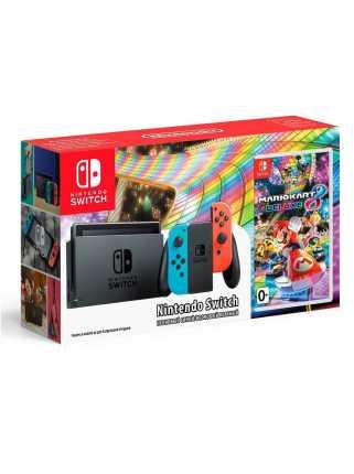 Nintendo Switch (неоновый красный/неоновый синий) + Mario Kart 8 Deluxe