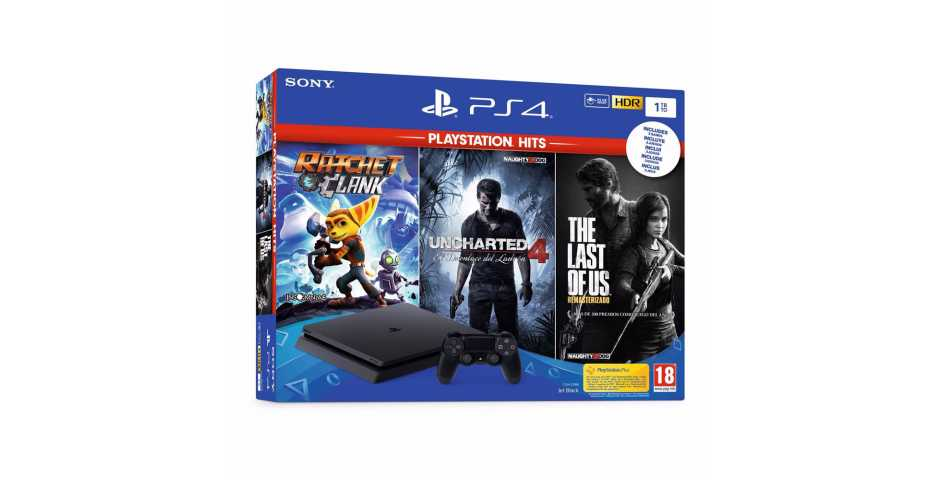 PlayStation 4 Slim 1TB + Uncharted 4 + Ratchet & Clank + The Last of Us Remastered
