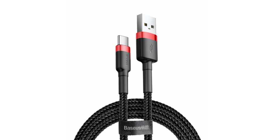 Кабель Baseus Cafule Cable USB для USB Type-C (2A, 3m, red-black)