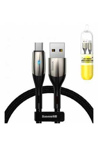 Кабель Baseus Horizontal Data Cable USB для USB Type-C (1m, черный, в капсуле)