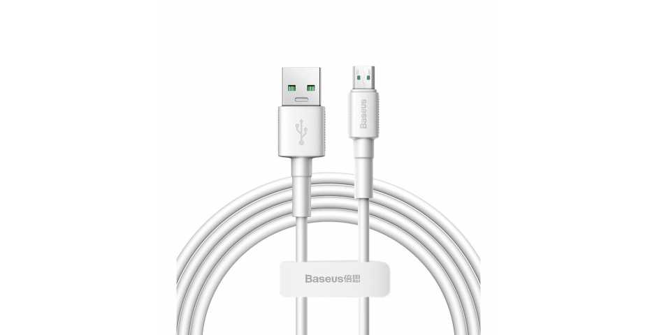 Кабель Baseus Mini White Quick Charge Data Cable USB для MicroUSB