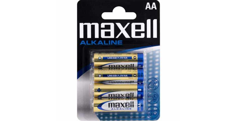 Батарейки Maxell Alkaline (AA, 4 шт)
