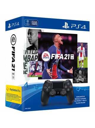 Геймпад DUALSHOCK 4 v2 (Черный) + FIFA 21 + FUT 21 + PS Plus