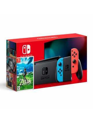Комплект Nintendo Switch 2019 (неоновый красный/неоновый синий) + The Legend of Zelda: Breath of the Wild