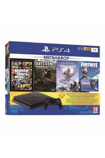 PlayStation 4 Slim 1TB + GTA V + Days Gone + Horizon: Zero Dawn + Fortnite + PS Plus