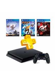 PlayStation 4 Slim 1TB + Gran Turismo Sport + Ratchet & Clank + Horizon: Zero Dawn + PS Plus