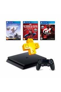 PlayStation 4 Slim 1TB + Человек-паук + Horizon: Zero Dawn + Gran Turismo Sport + PS Plus