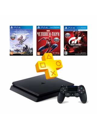 PlayStation 4 Slim 1TB + Человек-паук + Horizon: Zero Dawn + Gran Turismo Sport + PS Plus