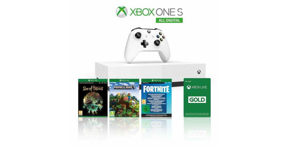 Microsoft Xbox One S 1TB All-Digital Edition + Minecraft + Sea of Thieves + Fortnite