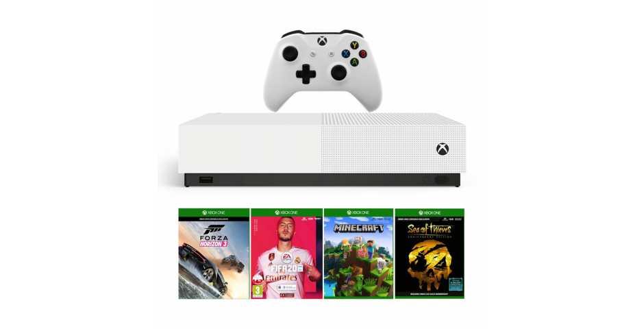 Microsoft Xbox One S 1TB All-Digital Edition + Minecraft + Sea of Thieves + Forza Horizon 3 + FIFA 20