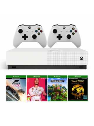 Xbox One S 1TB All-Digital Edition + Minecraft + Sea of Thieves + Forza Horizon 3 + FIFA 20 + 2 геймпада
