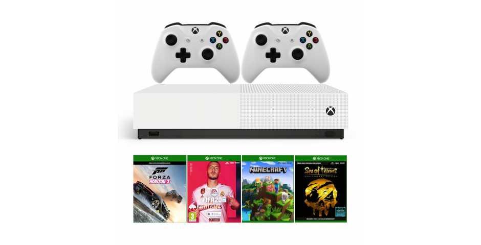 Microsoft Xbox One S 1TB All-Digital Edition + Minecraft + Sea of Thieves + Forza Horizon 3 + FIFA 20 + 2 геймпада
