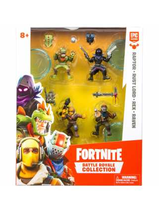 Набор фигурок: Raptor + Rust Lord + Rex + Raven (Fortnite Battle Royale Collection)