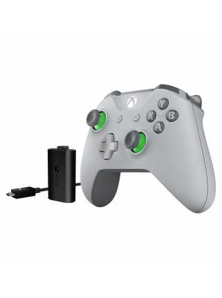 Геймпад Xbox One S Grey/Green + Play & Charge Kit