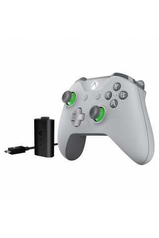 Геймпад Xbox One S Grey/Green + Play & Charge Kit