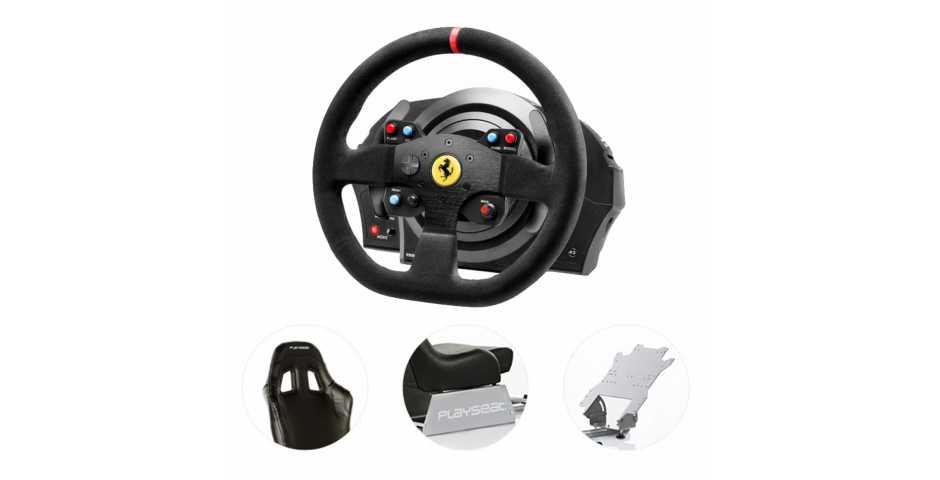 Руль Thrustmaster T300 Ferrari Integral RW Alcantara + Playseat Evolution Black