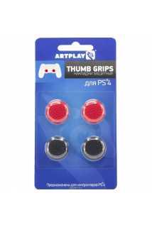 Накладки Artplays Thumb Grips (Черные 2шт./красные 2шт.) [PS4]