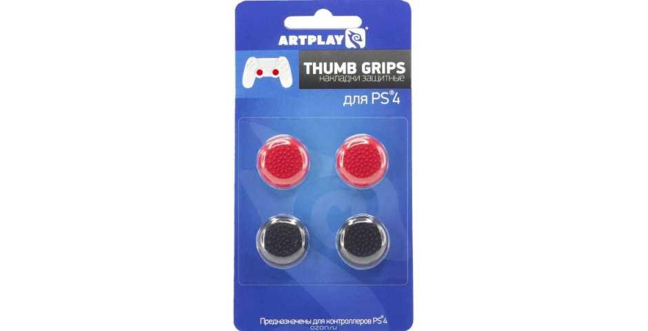 Накладки Artplays Thumb Grips (Черные 2шт./красные 2шт.)