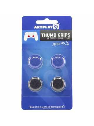 Накладки Artplays Thumb Grips (Черные 2шт./синие 2шт.) [PS4]