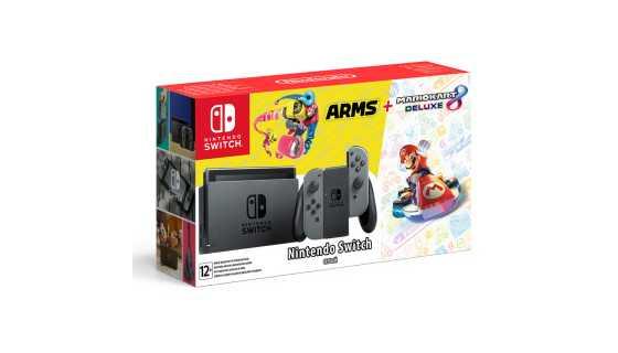 Комплект Nintendo Switch (серый) + Mario Kart 8 Deluxe + Arms
