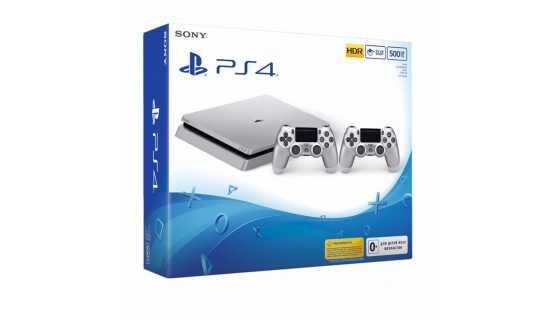 Sony PlayStation 4 (500ГБ) серебристая с геймпадом DualShock 4