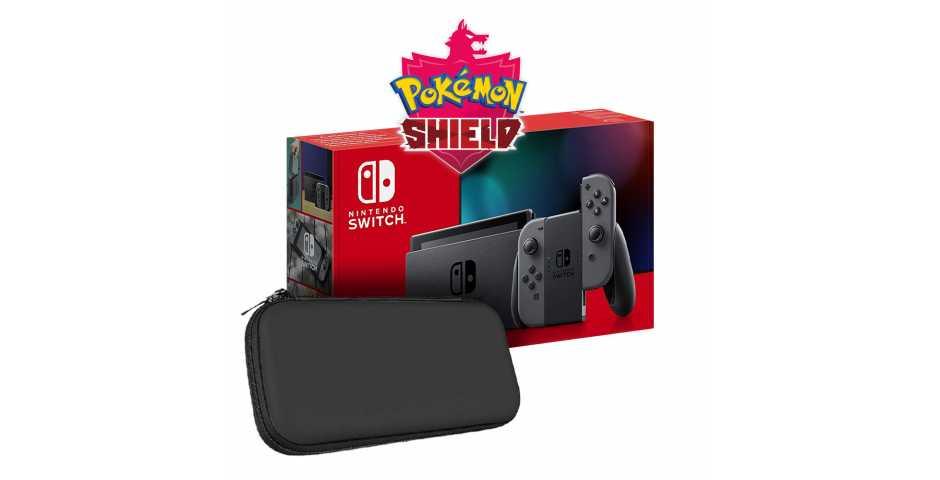 Nintendo Switch 2019 (серый) + Pokemon Shield + Чехол и защитная пленка Artplays