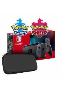 Nintendo Switch 2019 (серый) + Pokemon Sword + Pokemon Shield + Чехол и защитная пленка Artplays