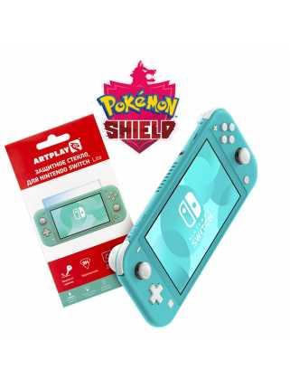 Nintendo Switch Lite (бирюзовый) + Pokemon Shield + Защитное стекло Artplays