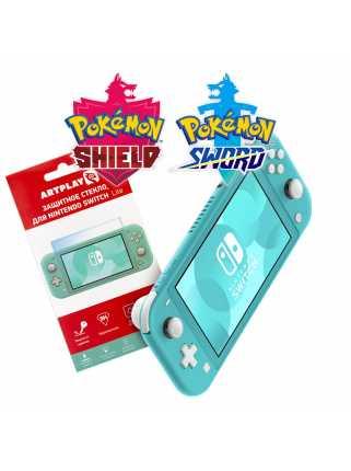 Nintendo Switch Lite (бирюзовый) + Pokemon Sword + Pokemon Shield + Защитное стекло Artplays