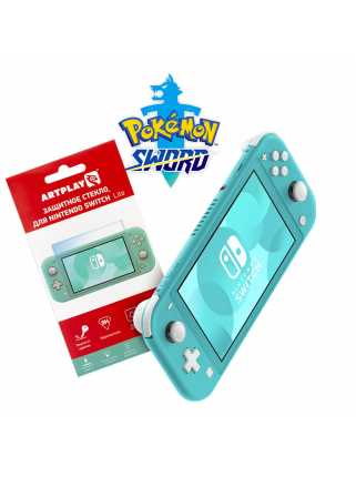 Nintendo Switch Lite (бирюзовый) + Pokemon Sword + Защитное стекло Artplays