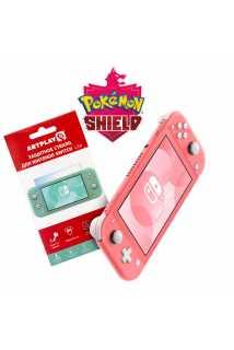 Nintendo Switch Lite (коралловый) + Pokemon Shield + Защитное стекло Artplays
