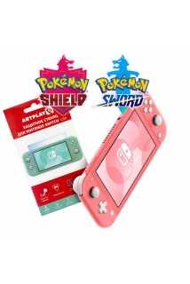 Nintendo Switch Lite (коралловый) + Pokemon Sword + Pokemon Shield + Защитное стекло Artplays