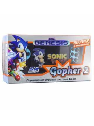 """SEGA Genesis Gopher 2 LCD 4.3"""" + 500 игр (синяя)"""