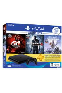 Sony PlayStation 4 Slim (500ГБ) + Uncharted 4 + Horizon Zero Dawn + GTS + PSPlus 3мес