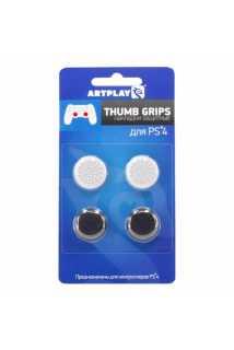 Накладки Artplays Thumb Grips (Черные 2шт./Белые 2шт.) [PS4]