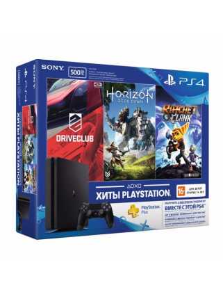 PlayStation 4 Slim 500GB + Driveclub + Horizon Zero Dawn + Ratchet & Clank