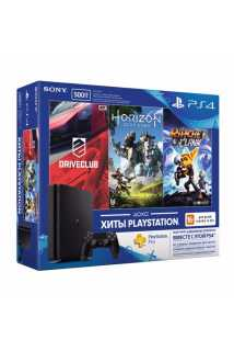 Sony PlayStation 4 Slim (500ГБ) + Driveclub + Horizon Zero Dawn + Ratchet & Clank