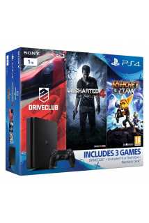Sony PlayStation 4  Slim (1TB) Mega Pack Bundle (Uncharted 4, Ratchet and Clank, DriveClub)